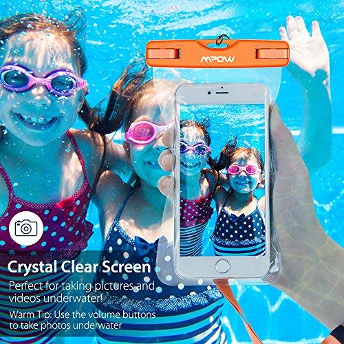 Mpow Waterproof Case, New Type PVC Waterproof Phone Case, Universal Dry Bag for iPhone8/7/7 Plus, Galaxy /Google Pixel/LG/HTC (3-Pack Blue Orange Green)