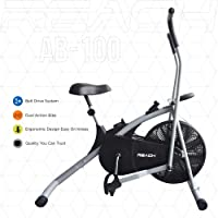 Reach AB-100 Air Bike Exercise Cycle with Moving Handles, Adjustable Cushioned Seat, Best Cardio Fitness Machine for Weight Loss