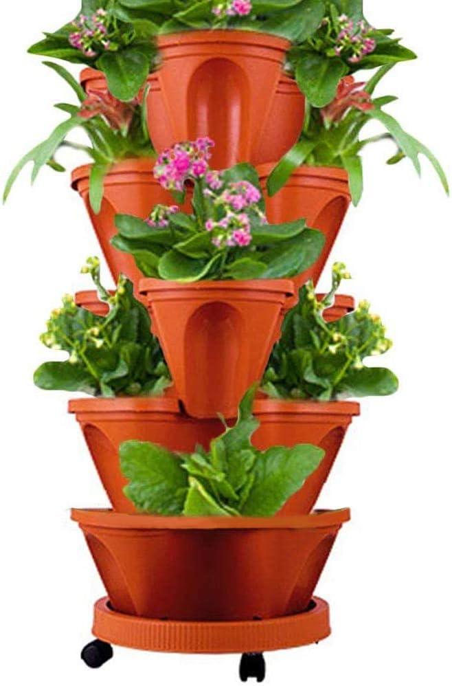5-Tier Stackable Flower Pot Tower with Moving Tray,Vertical Gardening Indoor/Outdoor Stacking Garden Pots (Brick Red)