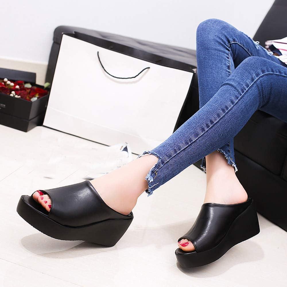 Trolimons Women/'s Trendy Wedges Slippers Peep Toe Slip On Sandals High Waterproof Platform Flat Bottom Beach Walk Shoes