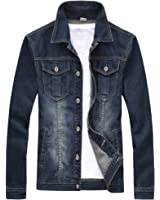 Glestore Mens Jean Jacket JK0914 Long Sleeves Coats Slim Fit