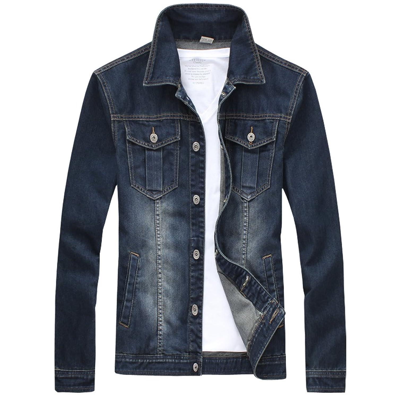 Glestore Mens Jean Jacket JK0914 Long Sleeves Coats Slim Fit ...