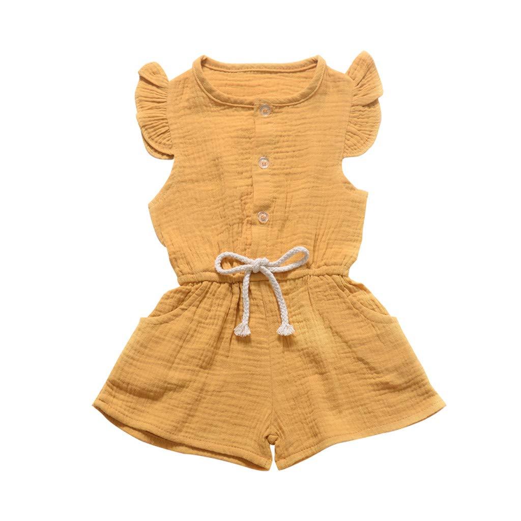 Sanahy Kleinkind Baby M/ädchen /Ärmellose Einfarbig Kinderknopfspielanzug Strampler Spielanzug Prinzessin Neugeborenes Kleidung Kleid Kurzarm Sommer Kleidung Fr/ühling