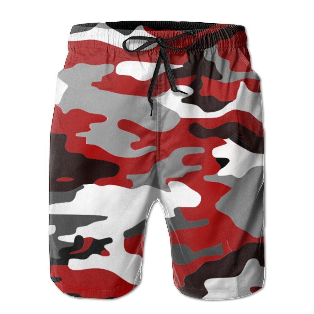 EYBFHUO Swim Trunk Relaxed Male Red Camouflage Beach Shorts Swimwear.