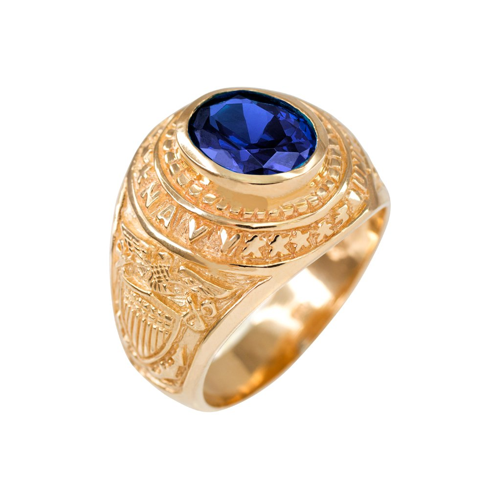 September CZ Birthstone US Navy Men's Ring in Solid 10k Yellow Gold (Size 10) by American Heroes (Image #1)
