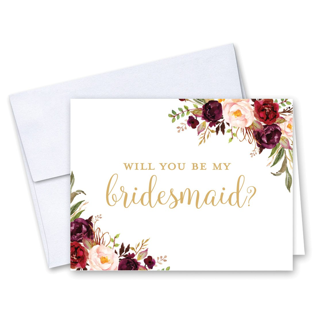8 Will You Be My Bridesmaid Cards and 2 Maid of Honor Cards - Bold Floral Bridesmaid Proposal - Bridal Party Card - Bridesmaid Card