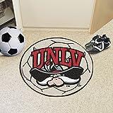 Fanmats Sports Team Logo Design UNLV University of Nevada Las Vegas Soccer Ball Shaped Indoor Home Floor Area Rug