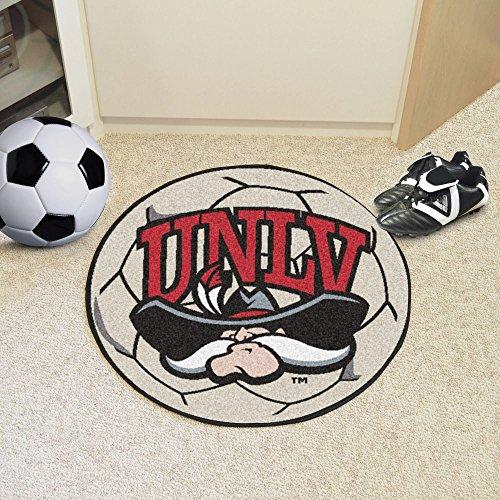 Fanmats Sports Team Logo Design UNLV University of Nevada Las Vegas Soccer Ball Shaped Indoor Home Floor Area Rug by Fanmats