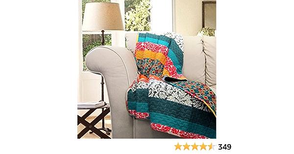 "Lush Decor Boho Reversible Throw Colorful Striped Pattern Bohemian Blanket, 60"" x 50"", Turquoise & Tangerine"