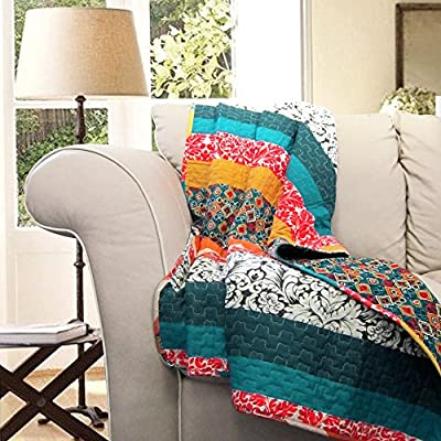 """Lush Decor Boho Reversible Throw Colorful Striped Pattern Bohemian Blanket, 60"""" x 50"""", Turquoise and Tangerine - Soft, 100% cotton fabric reversible boho style throw measures 60"""" x 50"""". Lush Décor Boho stripe throw is the ideal piece for your rustic, yet chic, bohemian decor. Bright, colorful and unique design with floral and geometric striped patterns for a mix of modern and bohemian chic style. - blankets-throws, bedroom-sheets-comforters, bedroom - 61h1FVoeVVL. SS400  -"""
