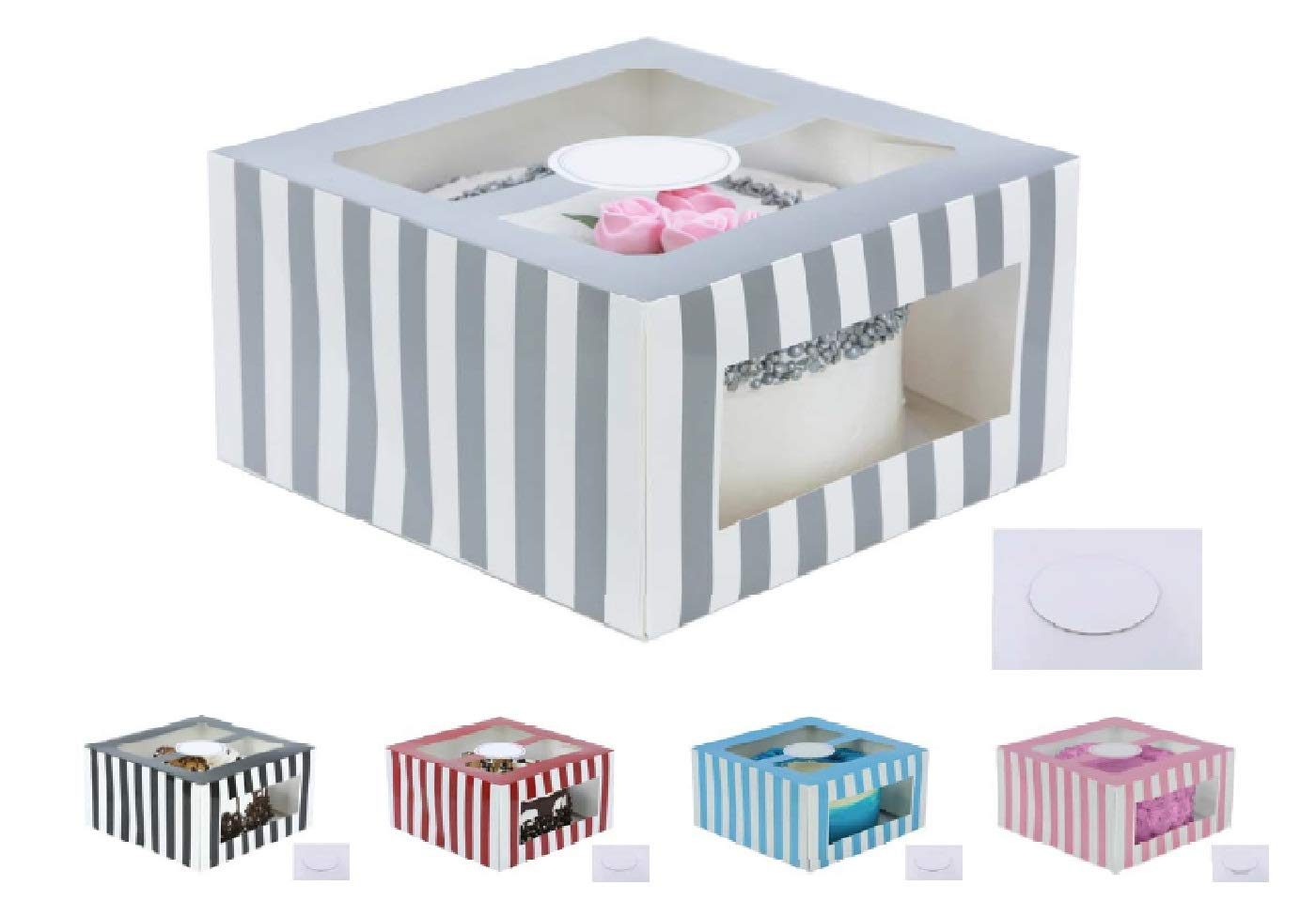 Confection Protection Cardboard Cake Boxes: 10 x 10 x 6 Inch Tall Cake Box Set with Cake Boards - Bakery Carrier Container with Window Panels for Wedding, Bake Sales - 10 Pack, Glossy Silver Stripes
