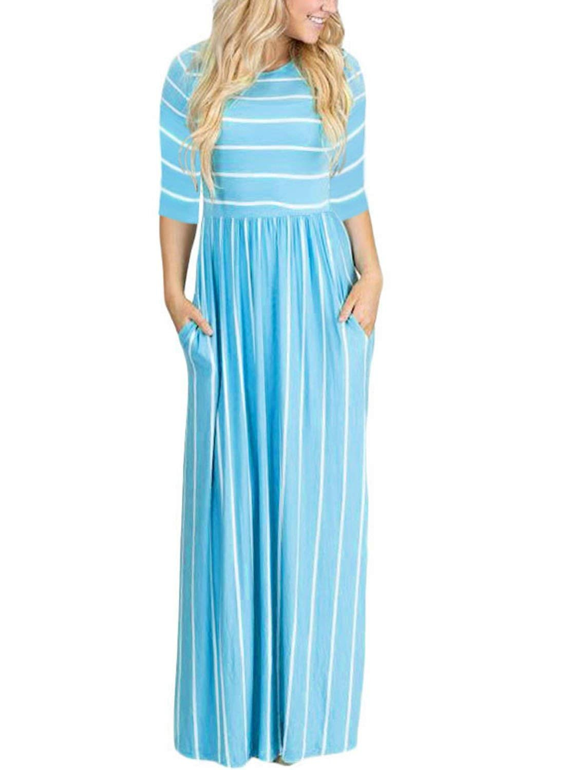 HOTAPEI Women`s Summer Casual Loose Striped Long Dress Short Sleeve Pocket Maxi Dress (並行輸入品) B07FD476ZJ Small|Z-3/4 Sleeve-light Blue Z-3/4 Sleeve-light Blue Small