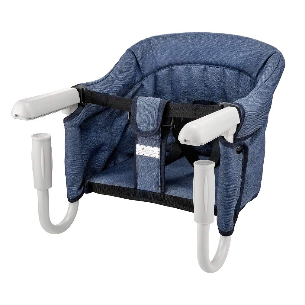 BeMAX Fast Hook On Table Chair, Fast Table Chair for Baby or Toddler, Attach to Table Without Leaving Scratches (Blue)