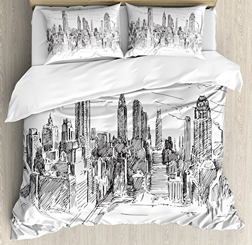 New York Duvet Cover Set by Ambesonne, Hand Drawn NYC Cityscape Tourism Travel Industrial Center Town Modern City Design, 3 Piece Bedding Set with Pillow Shams, Queen / Full, Grey - Queens New York Center