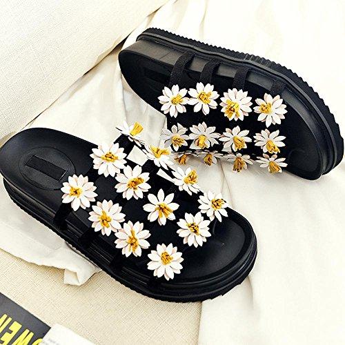 GJDE La Sra Deslizadores Flores de Verano Sandalias de Cuero Zapatos Planos Ocasionales de Fondo Grueso black (2cm heel)