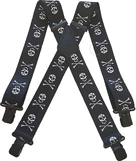 "Mens Dark Denim Braces Heavy Duty 1.5/"" or 2/"" Work Motorbike Trousers Black Clips"