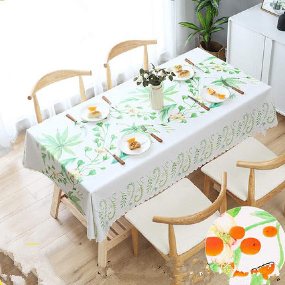 WJJYTX Wachstuch tischdecke, große abwischbare PVC-Vinyltischdecke, die Küchentisch-Abdeckungs-Schutz-Blatt Green Leaf @ 140 * 180 speist
