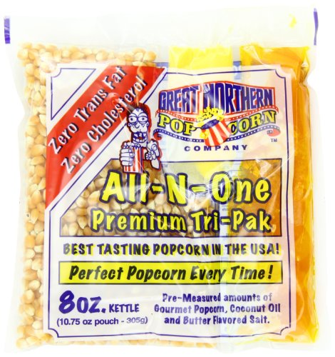 4110 Great Northern Popcorn Premium 8 Ounce Popcorn Portion Packs, Case of 24 (Best Way To Store Popcorn Kernels)