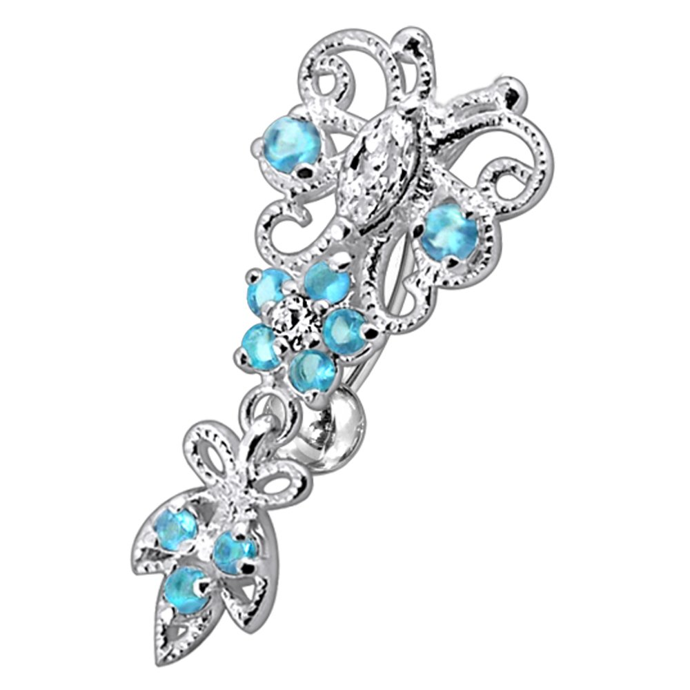 Fancy CZ Gemstone Butterfly with Flower Dangling 925 Sterling Silver with Grade 23 Solid Titanium Belly Button Ring