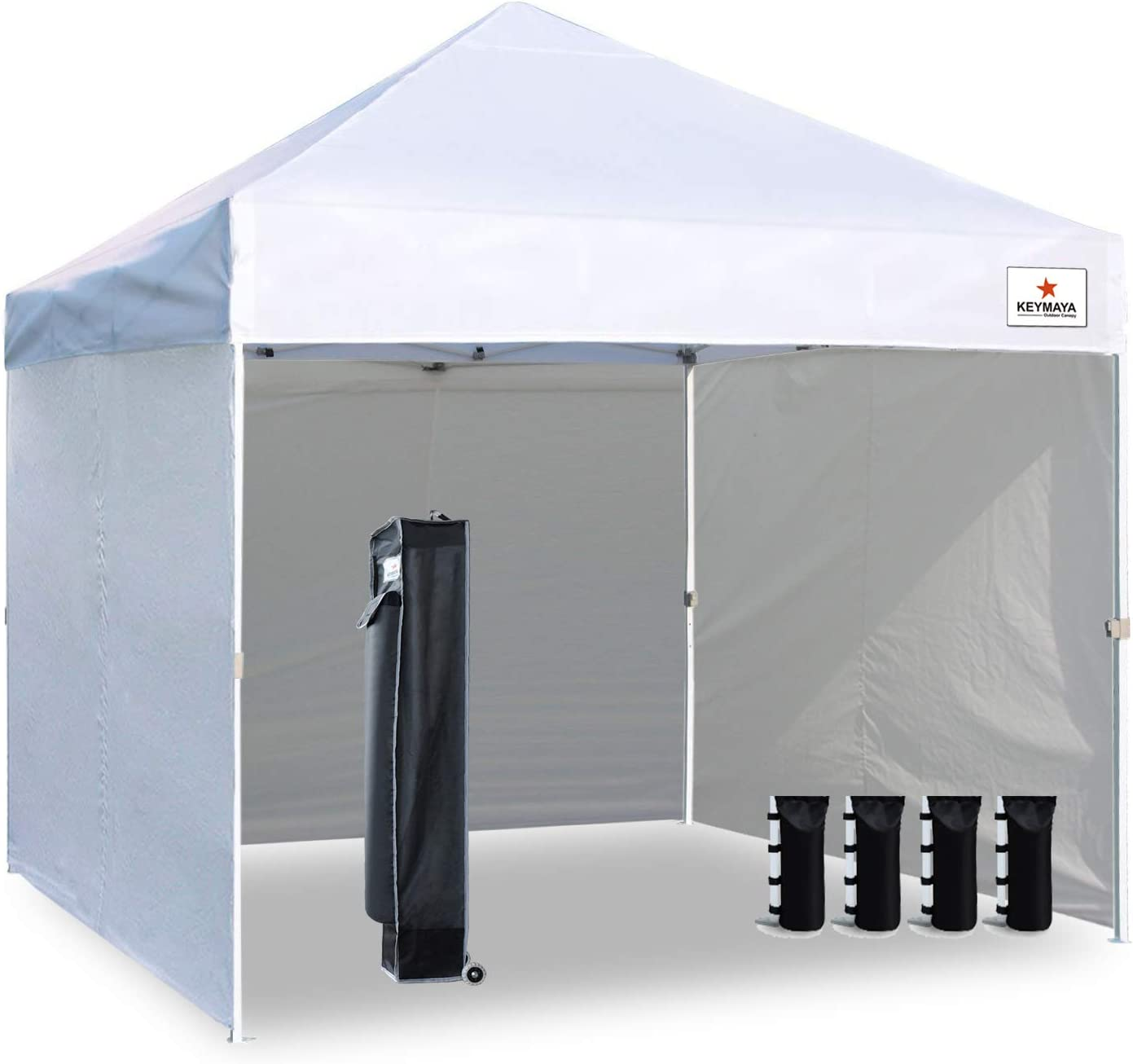 Keymaya 10 x10 Ez Pop Up Canopy Tent Commercial Instant Shelter with 4 Removable sidewalls Bonus Weight Bag 4-pc Pack Bleached White