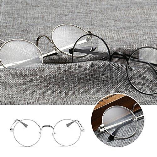 Chic Cadre en Kalttoy métal Lunettes grand clair objectif Lunettes Silver rétro rond dXganA0g