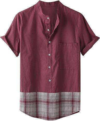 HCFKJ Camisas de Hombre BotóN Casual De La Moda De Hawaiano ImpresióN De La Tela Escocesa De La Playa De Manga Corta Blusa Superior: Amazon.es: Ropa y accesorios