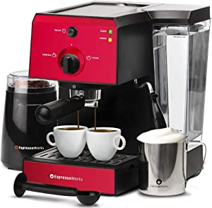 Espresso Machine & Cappuccino Maker with Milk Steamer- 15 Bar Pump, 7 Pc All-In-One Barista Bundle Set w/ Built-in Frother (Inc: Coffee Bean Grinder, Milk Frothing Cup, Tamper & 2 Cups), 1350W (Red) (Renewed)