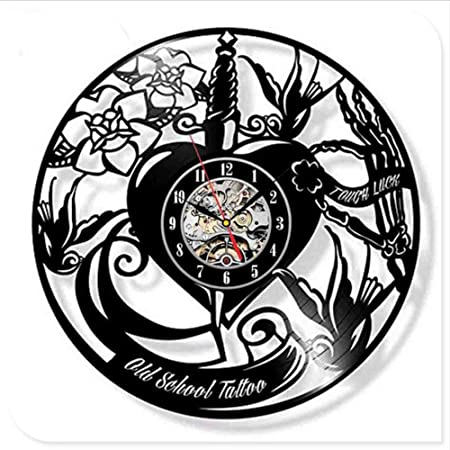Txyang Salón De Tatuaje CD Creativo Disco De Vinilo Reloj De Pared ...