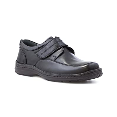 Mens Black Leather Touch Fasten Casual Shoe