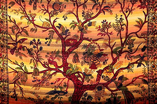 Indian Wild lotus Tree of Life Wall Hanging, Bedsheet, Superior Picnic Blanknet Quality Hippie Wall Tapestry or Bedspread in Organic Cotton Table Cloth Table Cover Decorative Art