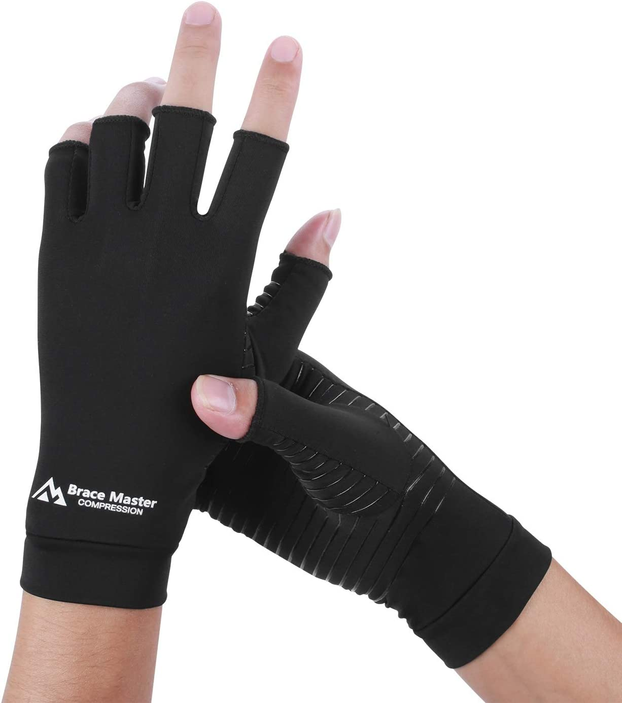 Large, Gray 1 Pair Relieve Pain from RSI Brace Master Compression Arthritis Gloves One Pair Full-Finger Support and Warmth for Hands Finger Joint Carpal Tunnel for Women and Men