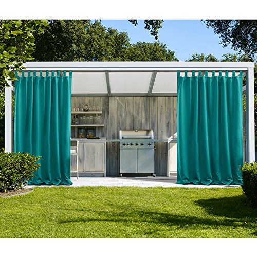 oor Curtains For Patio Waterpoof Solid Tab Top Single Panel Window Curtain Drape For Patio Porch Gazebo Pergola Cabana dock beach home - Turquoise 52W x 84L Inch (1 Panel) ()