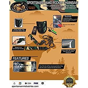 Sportsman Camouflage Pocket Chainsaw 36 Inches Long Chain - FREE Fire Starter. Best Folding Hand Saw Tool for Survival, Camping, Hunting, Tree Cutting or Emergency Kit. Replaces a Pruner & Pole Saw