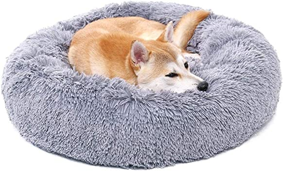 Auoker Marshmallow Cat Bed Calming Pet Dog Bed Cuddler Puff Cushion For Large Medium Small Dogs Puppy Kitty Kitten Grey L Amazon Co Uk Pet Supplies