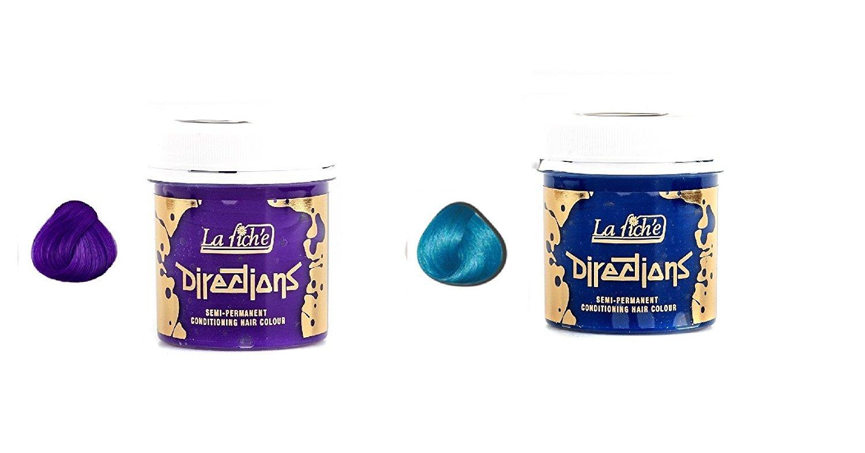 2 X La Riche Directions Semi-Permanent Hair Colour Dye Violet & Lagoon Blue