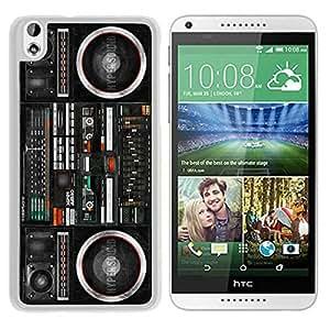 Fashionable Boombox Ghetto Blaster HTC Desire 816 Case in White