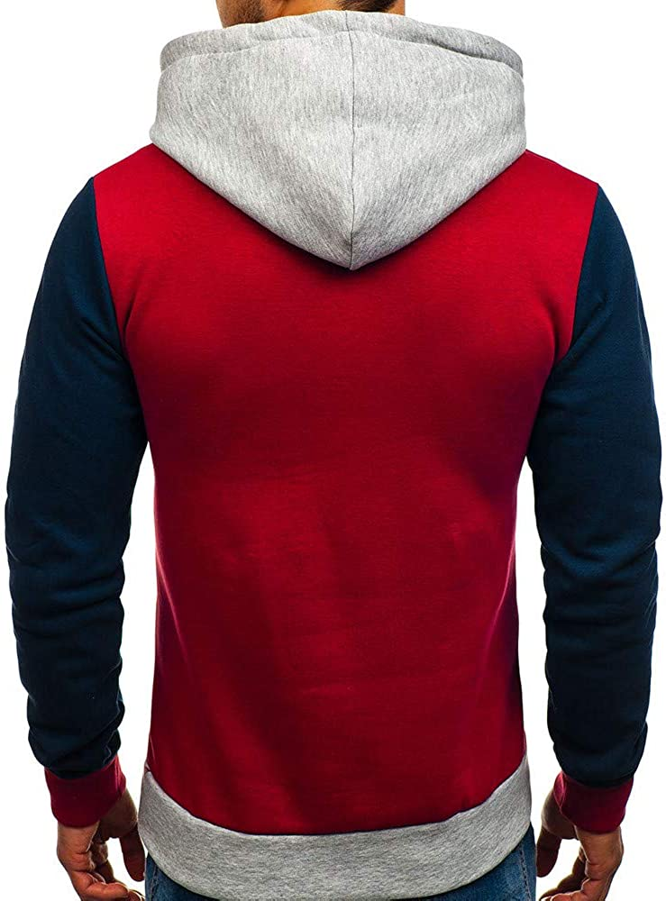 Yutao Mens Splicing Button Pullover Long Sleeve Hooded Sweatshirt Tops Blouse