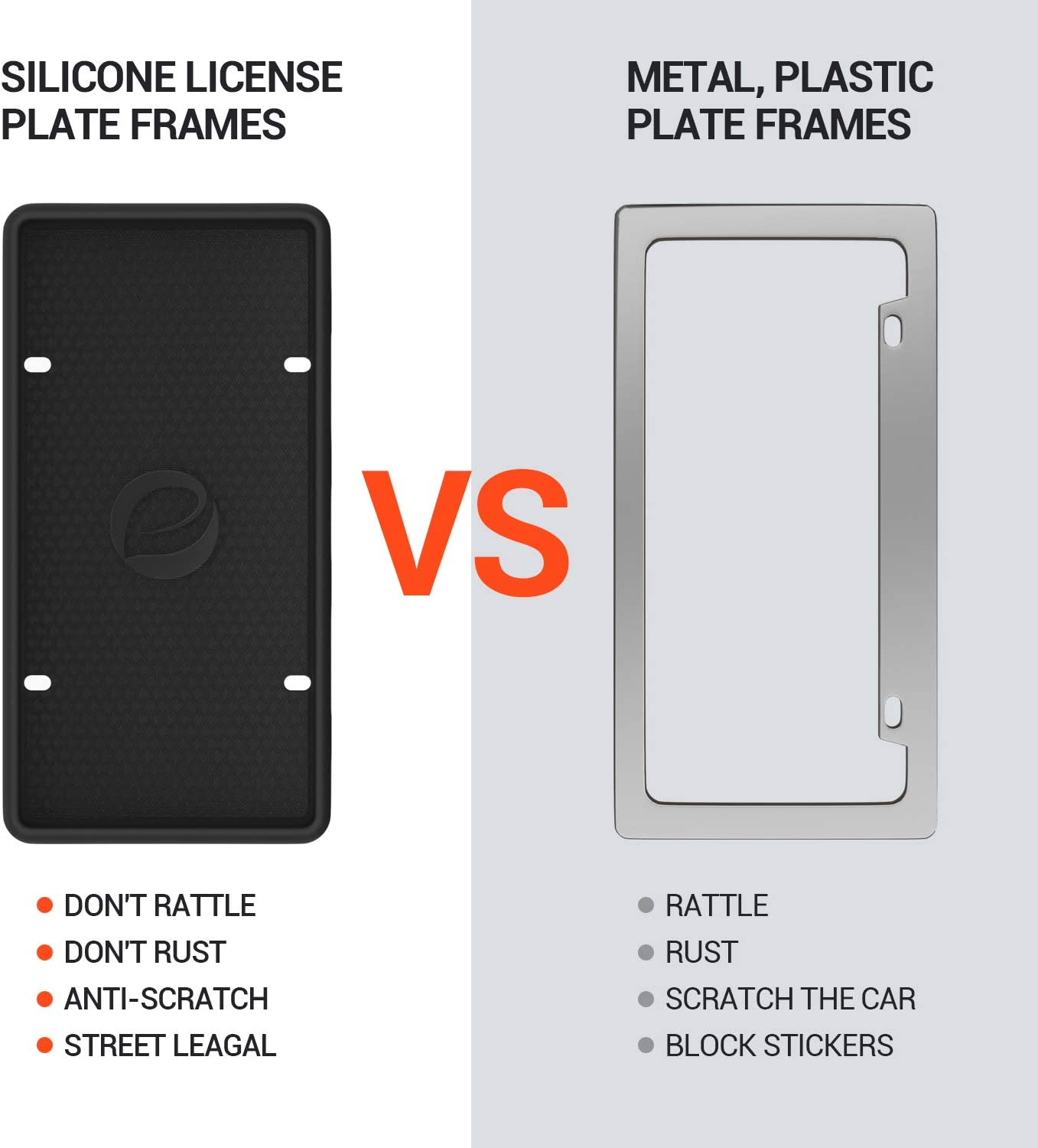 Rattle-Proof Weather-Proof Ohuhu Silicone License Plate Frame 2-Pack with Mounting Accessories Black Rust-Proof Wont Block Letters//Stickers