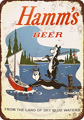 Hamms Bear - 1956 Hamms Beer Bears Fishing Reproduction Metal Sign 8 x 12