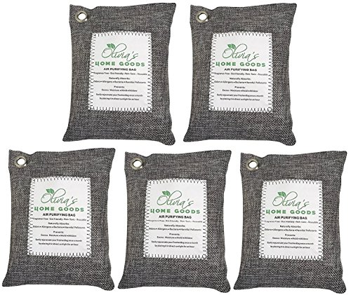 OLIVIA & AIDEN 5 pack- All Natural Air Freshener - Eco Friendly Odor Eliminator and Moisture Absorber – 1000g of Activated Bamboo Charcoal For Use As Car Deodorizer - Closet or Room Air Purifier