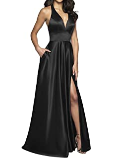 e50079d22a menoqo Women s Strapless Satin Prom Dresses Long Evening Gowns with Pockets  MNQ181111