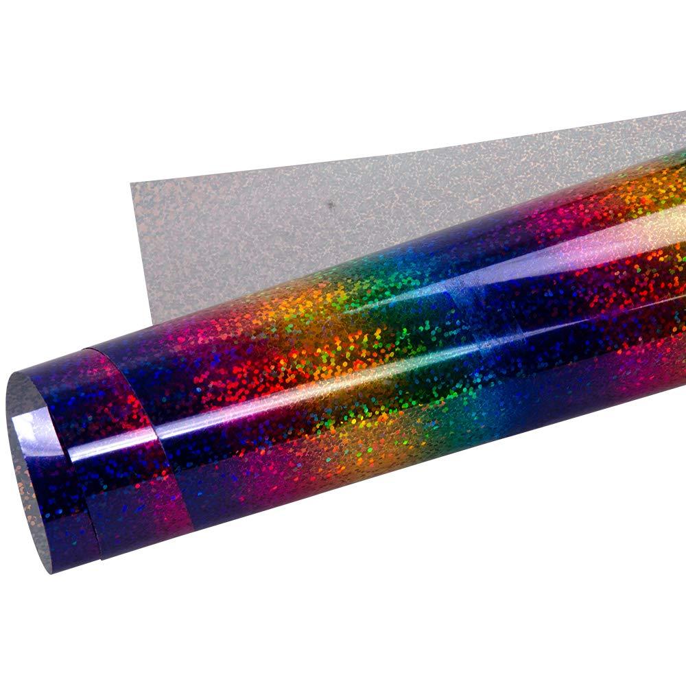 HOHOFILM Holographic Stripe Multi Heat Transfer Vinyl HTV Vinyl Iron on Papers 8x12 for DIY T-Shirts