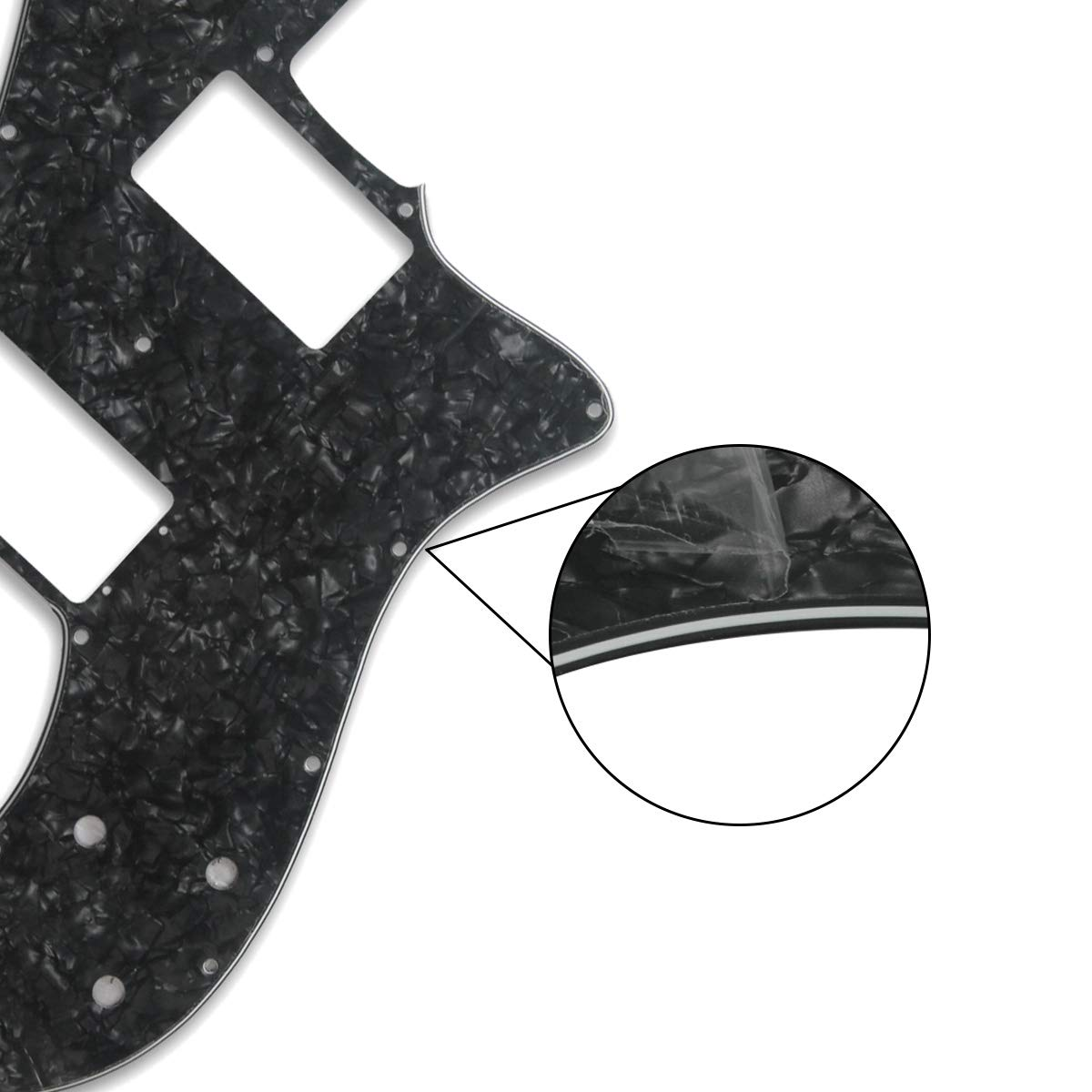 FLEOR 72 Thinline Pickguard Guitar Pick Guard Scratch Plate with Screws Fit Vintage Style 72 Telecaster Deluxe 14 Hole 4Ply Black Pearl