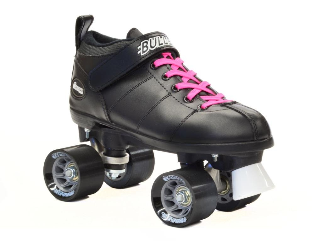 Chicago Bullet Black Speed Skates - Chicago Speed Skates - Pink Laces Size Mens 10 / Ladies 11
