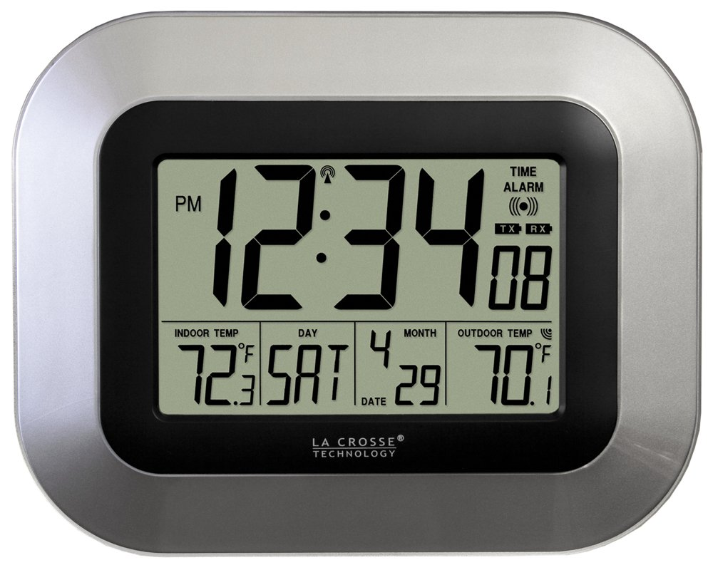 La Crosse Technology WS-8115U-S-INT Atomic Digital Wall Clock with Indoor and Outdoor Temperature by La Crosse Technology