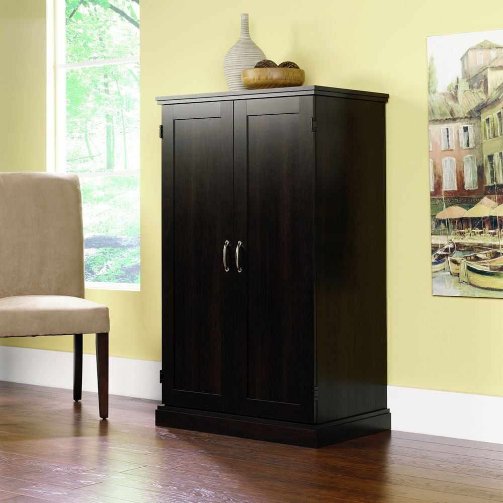 amazoncom sauder computer armoire cinnamon cherry finish kitchen dining home office furniture cherry finished
