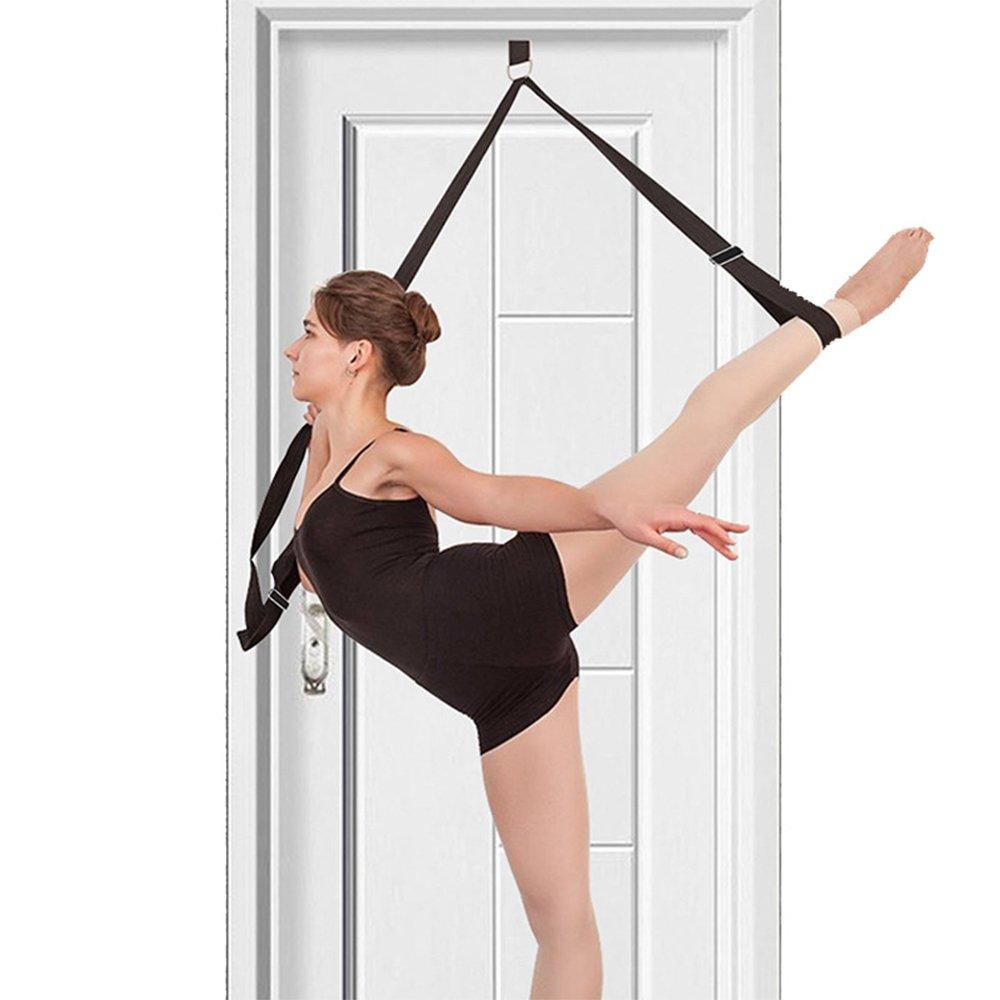 ZZM - Correa elástica para piernas, ballet, banda elástica, banda de resistencia para danza, pies, correa elástica, para niñas y mujeres, gimnasia, patinaje sobre hielo y entrenamiento de animadora para mejorar la flexibilidad, negro