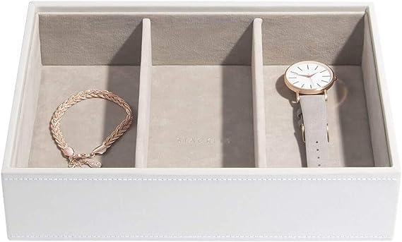 Stackers Classic Size |Caja de la joyería Organizador con 3 Secciones Profundas para Relojes y Pulseras, Blanco con Forro de Terciopelo Gris: Amazon.es: Hogar