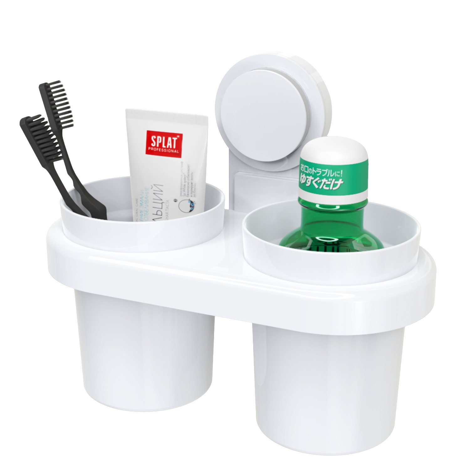 TOENNESEN Bathroom Wall Suction Toothbrush & Toothpaste Holder with Two Cups