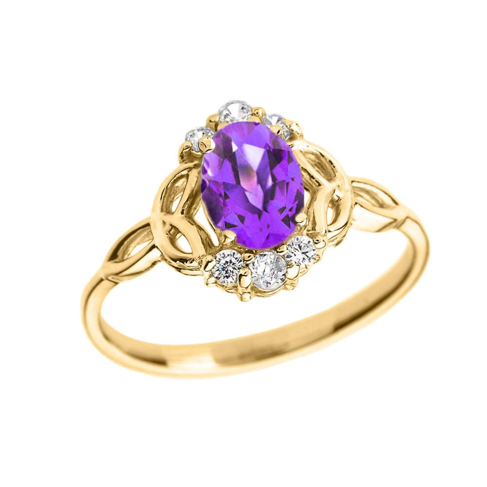 Elegant 14k Yellow Gold Diamond Trinity Knot Proposal Ring with Genuine Amethyst (Size 7)